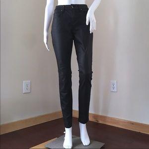 Eileen Fisher Skinny Jeans 4 Black Wax Coated